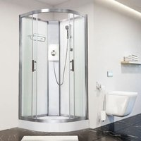 Luxury Electric Shower Cabin Pure E Quadrant 900 White Enclosure 9.5kW - Vidalux