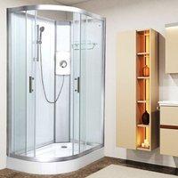 Luxury Electric Shower Cabin Vidalux Pure E RH 1200 x 800 White Enclosure 8.5kW