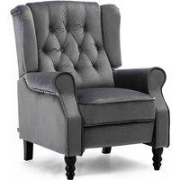 Luxury Life Althorpe Reclining Armchair Manual Push Back Recliner Small Sofa. Gaming Bedroom Armchair (Grey, Velvet)