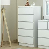 Carlton Chest of Drawers Bedside Cabinets (5 Drawer Chest, Matt White) - Luxury Life
