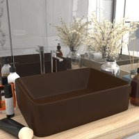 Luxury Wash Basin Matt Dark Brown 41x30x12 cm Ceramic