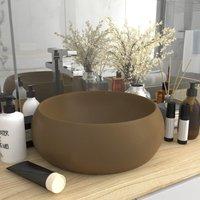 Luxury Wash Basin Round Matt Cream 40x15 cm Ceramic