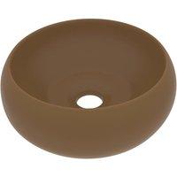 Luxury Wash Basin Round Matt Cream 40x15 cm Ceramic - VIDAXL
