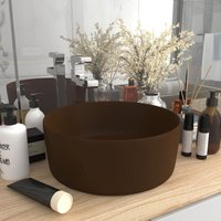 Luxury Wash Basin Round Matt Dark Brown 40x15 cm Ceramic