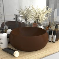 Luxury Wash Basin Round Matt Dark Brown 40x15 cm Ceramic - Brown