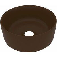 Luxury Wash Basin Round Matt Dark Brown 40x15 cm Ceramic - VIDAXL