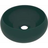 vidaXL Luxury Wash Basin Round Matt Dark Green 40x15 cm Ceramic - Green