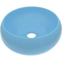 vidaXL Luxury Wash Basin Round Matt Light Blue 40x15 cm Ceramic - Blue