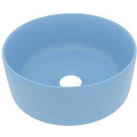 Luxury Wash Basin Round Matt Light Blue 40x15 cm Ceramic - VIDAXL