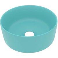 vidaXL Luxury Wash Basin Round Matt Light Green 40x15 cm Ceramic - Green