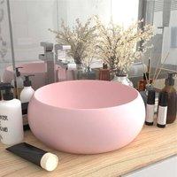 Luxury Wash Basin Round Matt Pink 40x15 cm Ceramic - Pink