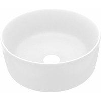 Luxury Wash Basin Round Matt White 40x15 cm Ceramic - White - Vidaxl