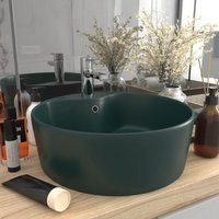 Luxury Wash Basin with Overflow Matt Dark Green 36x13 cm Ceramic - VIDAXL