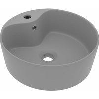 Luxury Wash Basin with Overflow Matt Light Grey 36x13 cm Ceramic - VIDAXL