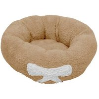 M Size Pet Dog Cat Calming Bed Soft Plush Round Brown for Cats and Small Dogs - TALKEACH