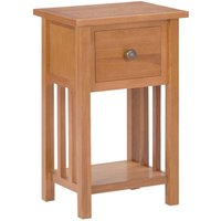 Magazine Table with Drawer 35x27x55 cm Solid Oak Wood - Brown