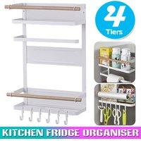 Magnetic 4 Tier Refrigerator Kitchen Organizer, Paper Napkin Storage Shelf, Cling Film Holder (White)