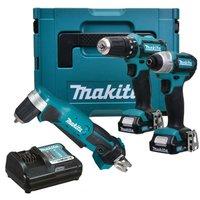 Makita 12v CXT 3pc Kit Combi Hammer Drill + Impact Driver + Angle Drill 2 Batts