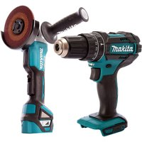 Makita 18V 2 Speed Combi Drill and Brushless 115mm Angle Grinder T4TKIT-470