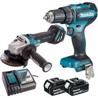 Makita 18V LXT Brushless Angle Grinder and Combi Drill with 2 x 3.0Ah Battery and Charger