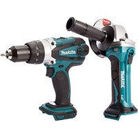 Makita 2 Piece 18V LXT Combi Drill and Angle Grinder 115mm Body Only