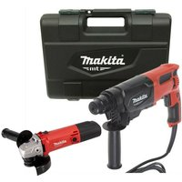 Makita 240v SDS + 3 Mode Rotary Hammer Drill 26mm and M9502R 115mm Angle Grinder
