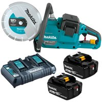 Makita DCE090T2X1 18v / 36v 9 Cordless Brushless Power Disc Cutter Saw 2 x5.0ah