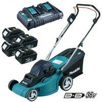 Makita DLM380PF4 18v 36v LXT Cordless Lawn Mower + 4 x 3.0ah Batteries + Charger