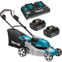 Makita DLM460PT2 Twin 18v / 36v LXT Cordless Brushless Lawn Mower 460mm - 2x5ah