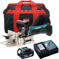 Makita DPJ180Z 18V Biscuit Jointer with 1 x 5.0Ah Battery Charger and Bag