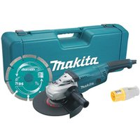 Makita GA9020KD 110V 9/230mm Angle Grinder in Case and Diamond Blade with Plug Socket