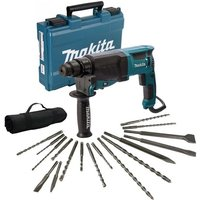 Makita HR2630 110v SDS Plus 3 Mode Rotary Hammer Drill + 17 Piece Bit Set Point