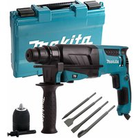 Makita HR2630 110V SDS+ Rotary Hammer Drill and 4 Piece Chisel Set + Keyless Chuck
