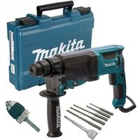Makita HR2630 240v SDS Plus 3 Mode Rotary Hammer Drill + SDS Bits Chisel + Chuck