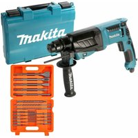Makita HR2630 SDS Rotary Hammer Drill 3 Mode 26mm 240V With 17 Piece SDS Drill Bit
