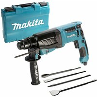 Makita HR2630 SDS Rotary Hammer Drill 3 Mode 26mm 240V With 4 Piece SDS Chisel Set