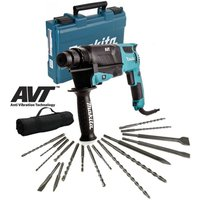 Makita HR2631F 110v SDS Plus Corded Rotary Hammer Drill + 17 Piece Bit Set Point