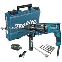 Makita HR2631F 240v SDS Plus Corded Rotary Hammer Drill 26mm AVT + Chuck + Bits