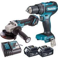 Makita Twin Pack Angle Grinder + Combi Drill with 2 x 5.0Ah Batteries and Charger
