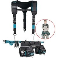 Makita Ultimate Tool Belt 3 Pouch Holster Set Heavyweight Braces + Strap System