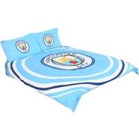 Official Double Duvet and Pillowcase Set Pulse Design (Double) (Blue) - Manchester City Fc