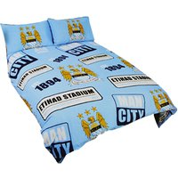 Manchester City FC Official Patch Football Crest Duvet Cover Bedding Set (Single Bed) (Sky Blue)