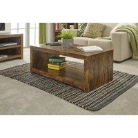 Mango Wood Style Coffee Table Open Storage Magazine Occasional Chunky Furniture