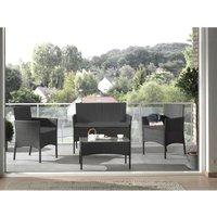 Marbella - Salon bas de jardin 4 places - en résine tressée - Noir avec coussins gris Couleur - Noir - Noir / Gris - LISA DESIGN