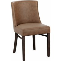 Marco Brown Padded Carver Chair With Arms - Pvc Leather - NETFURNITURE