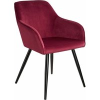 Marilyn Velvet-Look Chair - burgundy/black - TECTAKE