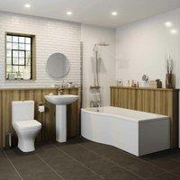 Marseille Bathroom Suite - P Shaped Shower Bath - Left Hand