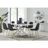 Furniturebox Uk - Mayfair 6 Dining Table and 6 Black Corona Gold Leg Chairs