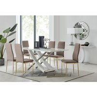 Furniturebox Uk - Mayfair 6 Dining Table and 6 Cappuccino Gold Leg Milan Chairs