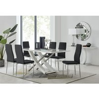Mayfair Large White High Gloss And Stainless Steel Dining Table And 6 Black Milan Dining Chairs